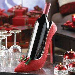 Red Sparkly High Heel Wine Bottle Holder