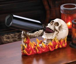 Flaming Skull Wine Bottle Holder