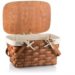 Prairie Picnic Basket With A Wooden Plank Lid