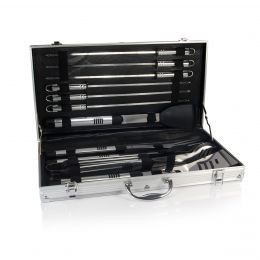 Mirage Pro BBQ Tools Set In Silver Carry Case